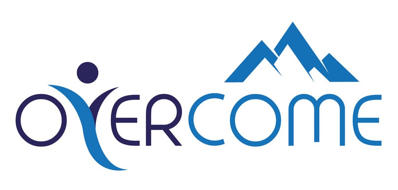 Dark Blue and Light Blue Overcome Mountain Logo