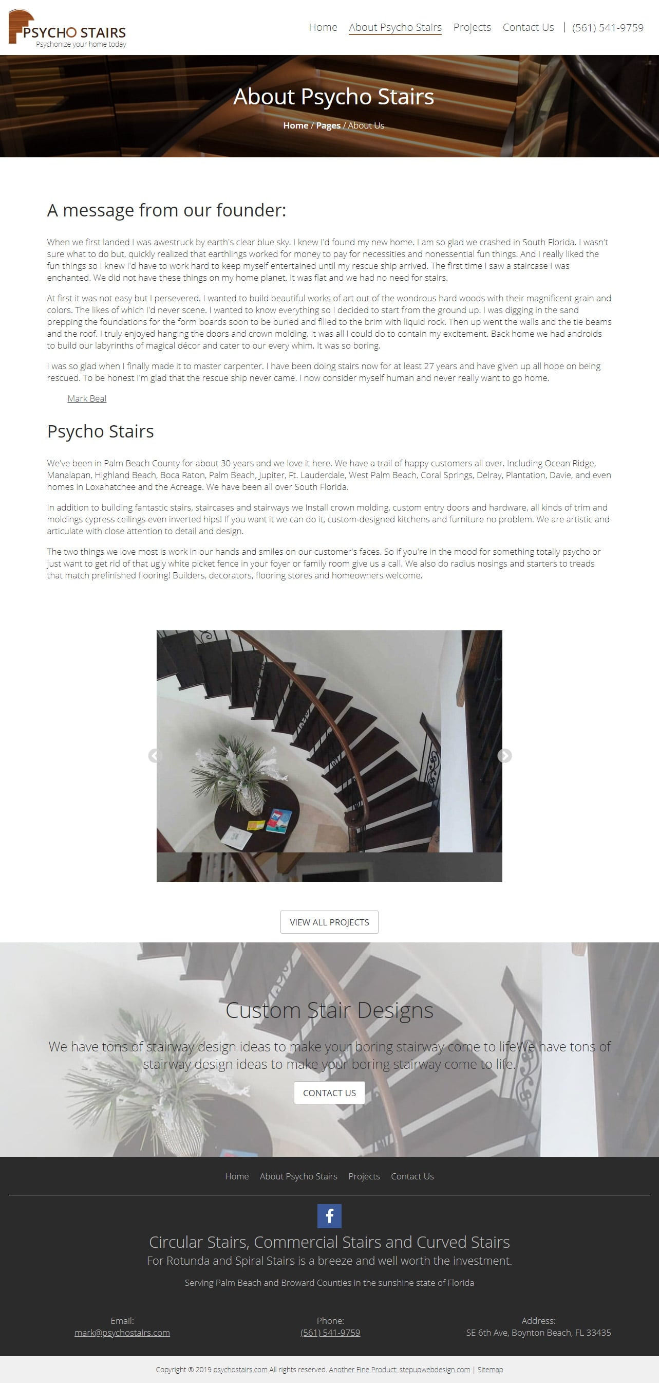 Psycho Stairs Website About US Page Design