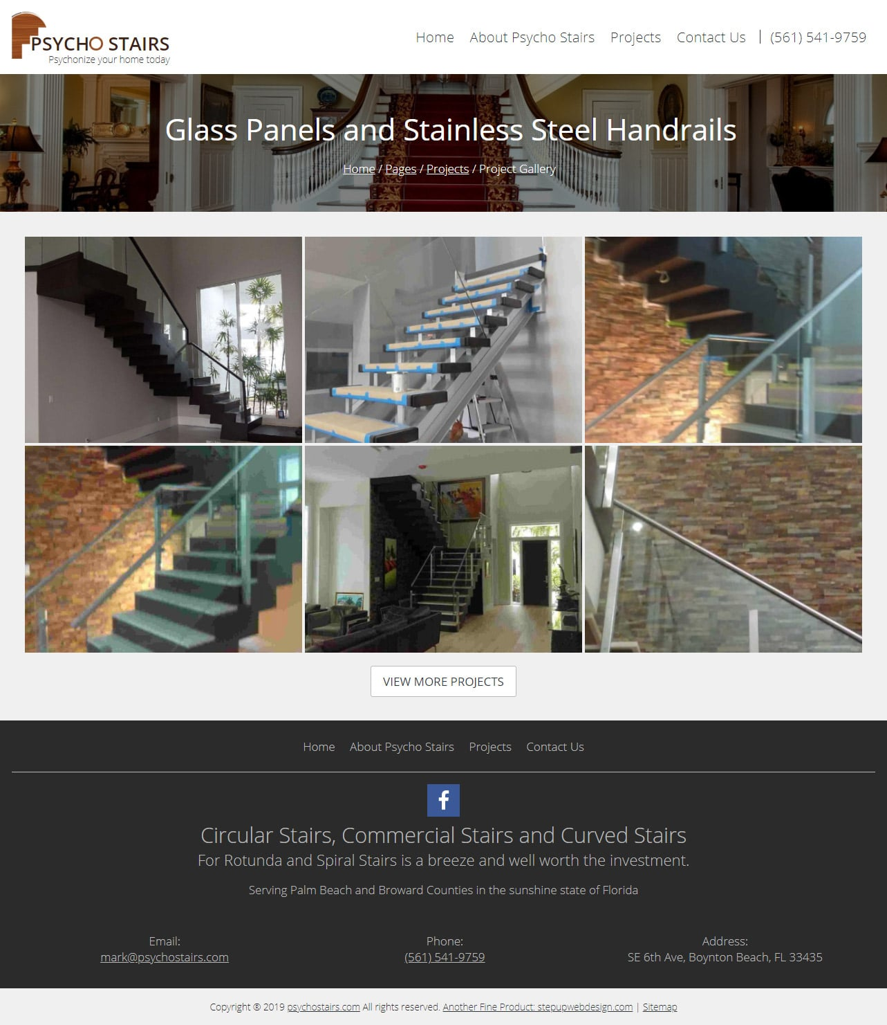 Psycho Stairs Website Projects Page Design