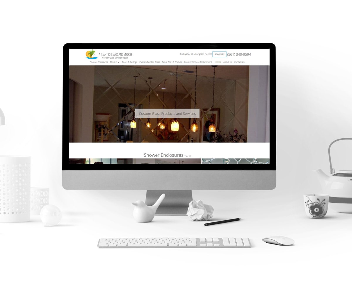 Web Design for Atlantic Glass and Mirror - Homepage